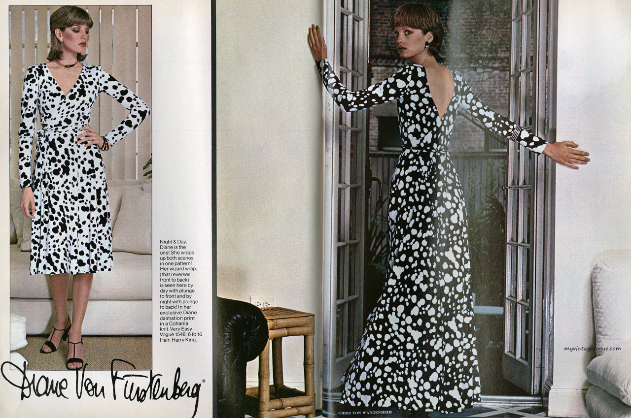 Chris von Wangenheim photos of Vogue 1548 in a 1976 Vogue Patterns editorial