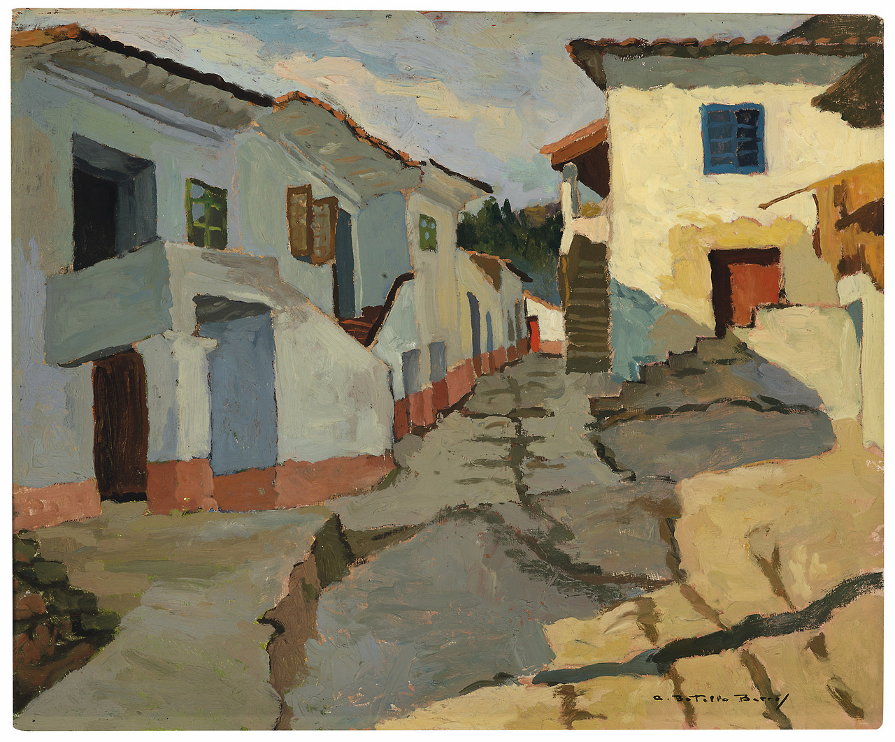 "lawrenceleemagnuson: ""Ángel Botello (1913-1986) Street in Cangas (c. 1935) oil on panel 58.4 x 71.1 cm """