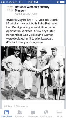 """englishproblems:damegreywulf:naamahdarling:urulokid:facebooksexism:skeptikhaleesi:brownglucose:nextyearsgirl:The absence of women in history is man made.How pettyjust look at babe ruth's face thoso confusedso losti love itJackie Mitchell…a bad ass lady I had never heard of. From her Wikipedia page: """"Seventeen-year-old Jackie Mitchell, brought in to pitch in the first inning after the starting pitcher had given up a double and a single, faced Babe Ruth. After taking a ball, Ruth swung and missed at the next two pitches. Mitchell's fourth pitch to Ruth was a called third strike. Babe Ruth glared and verbally abused the umpire before being led away by his teammates to sit to wait for another batting turn. The crowd roared for Jackie. Babe Ruth was quoted in a Chattanooga newspaper as having said:""""I don't know what's going to happen if they begin to let women in baseball. Of course, they will never make good. Why? Because they are too delicate. It would kill them to play ball every day.""""Next up was the Iron Horse Lou Gehrig, who swung through the first three pitches to strike out. Jackie Mitchell became famous for striking out two of the greatest baseball players in history.A few days after Mitchell struck out Ruth and Gehrig, baseball commissioner Kenesaw Mountain Landis voided her contract and declared women unfit to play baseball as the game was """"too strenuous.""""[5][10] Mitchell continued to play professionally,barnstorming with the House of David, a men's team famous for their very long hair and long beards.[11] While travelling with the House of David team, she would sometimes wear a fake beard for publicity.""""TL;DR: teenage girl strikes out two of the greatest baseball players ever, teenage girl gets her contract voided, teenage girl plays baseball wearing fake beardThese guys were so fucking injured by a teenage girl's awesomeness that they literally threw a hissyfit and hung up a sign that said """"NO GIRLS.""""They gave up.They couldn't handle it.Losers. Teenage girls """