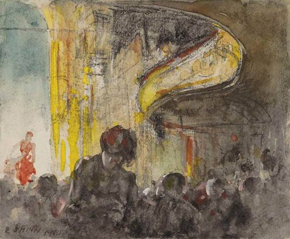 """huariqueje: """" Paris Music Hall - Everett Shinn, 1900 American,1876-1953 watercolor, charcoal and gouache on paper , 10.2 x 12.1 cm. (4 x 4.8 in.) """""""