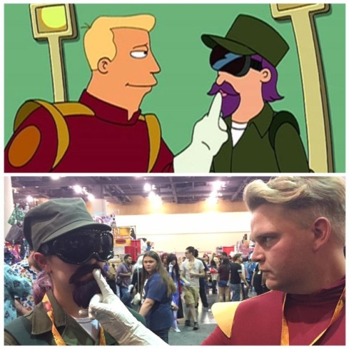 "scifiseries: ""Friends dressed up as Lee Lemon and Zapp for Comicon this year "" ""That young man fills me with hope. Plus some other emotions which are weird and deeply confusing"""
