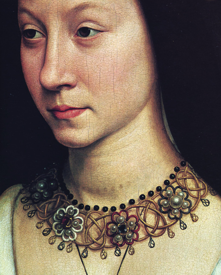 Hans Memling, portrait of Maria Maddalena Baroncelli, wife of Tomaso Portinari, detail, 1471. Oil on canvas. Brugge. Great publication online: the Metropolitan Jewelry