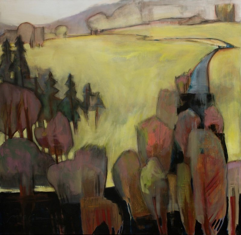 """lilithsplace: """"Twilight Pastures - Peggy McGivern (20th Century) mixed media 