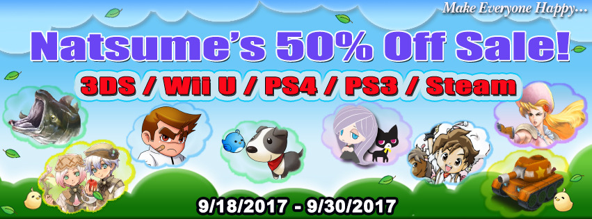 It's a BIG, BIG, HUGE, HUGE SALE! Our biggest sale ever - save 50% off nearly all our 3DS, Wii U, PS4, PS4 and Steam titles! Nintendo 3DS eShop (North America)Harvest Moon: Skytree Village Harvest Moon: Lost Valley Harvest Moon: A New...