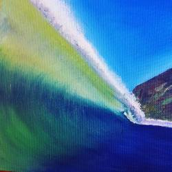 Trying seascapes on for size, and oils, which are so different to what I'm used to handling. I have a long way to go before this one is complete. Waves are way harder than you think! #Art #seascapes #ocean #blueandwhite #summer #waves #surf #wip #oilpainting #surfing #greenroom #painting #perthcreatives #perthartist #illustration #artworks #artsy