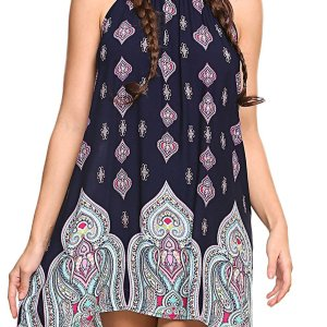Women's Casual Sleeveless Halter Neck Boho Print Short Dress Sundress. I added a belt to add…, September 13, 2017 at 09:11PM