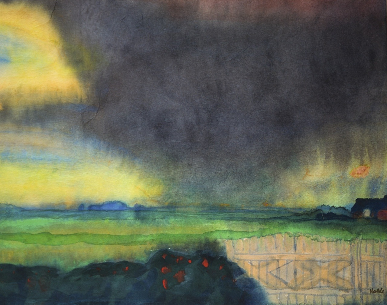 "thunderstruck9:""Emil Nolde (German, 1867-1956), Marschlandschaft mit Seebüllhof und Rosehecke [Marshland with Seebüll grounds and rose hedge], c.1935-40. Watercolour on paper, 33.2 x 42.2 cm."""