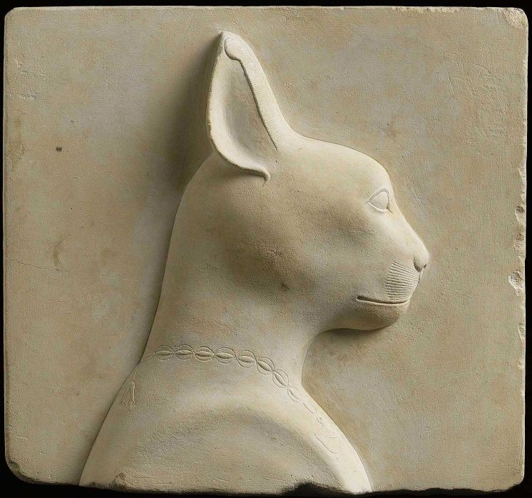 Cat, double-sided votive relief, 305-30 B.C. Limestone. Egyptian. Museum of Fine Arts, Boston.