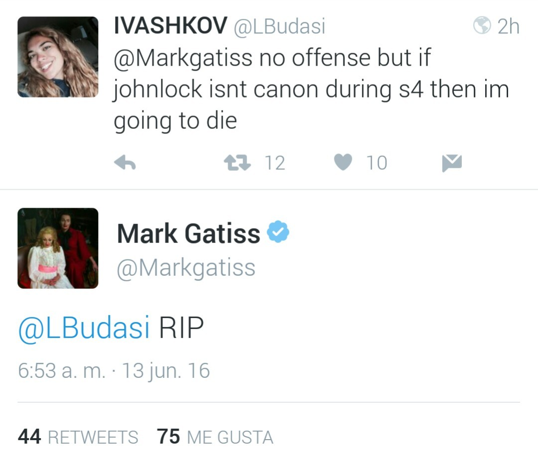 Image result for mark gatiss johnlock tweet