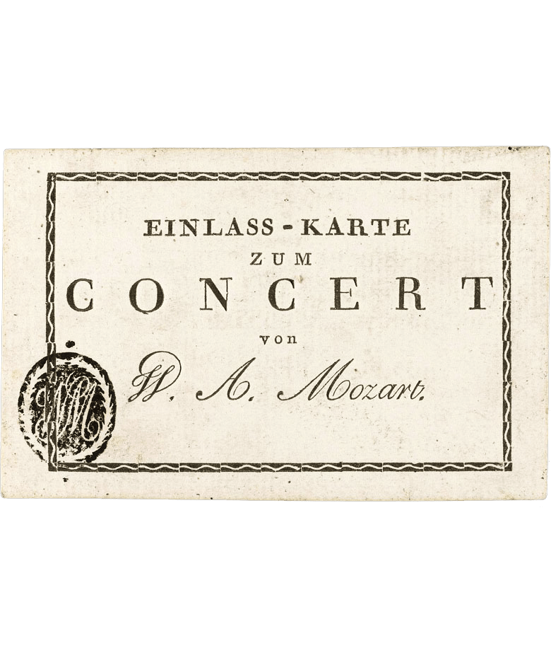 Ticket to a Mozart Concert, 1781-91. Most likely such tickets would have been printed in larger numbers for use over more than one concert season. Only four known copies exist. Sold by Sotheby's. Source