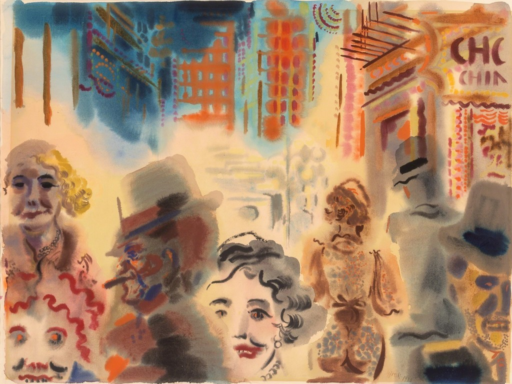 "thunderstruck9: "" George Grosz (German, 1893-1959), Street Scene, Downtown Manhattan, 1933. Watercolor on paper, 48.3 × 62.9 cm. """