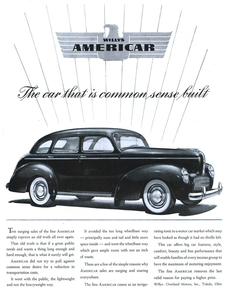 1940 Willys Americar - published in The Saturday Evening Post - November 9, 1940
