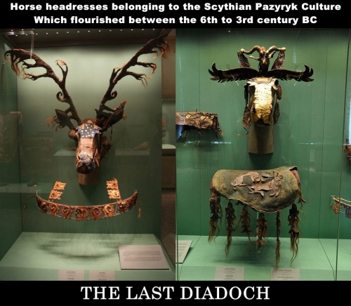"""-a remarkable mask and breast collar for a horse, from around the 3rd-4th century B.C., from the Pazyryk culture of the Altai – a region in central Siberia"" ""Pazyryk is the name of an ancient people who used the stone covered burial mound or..."