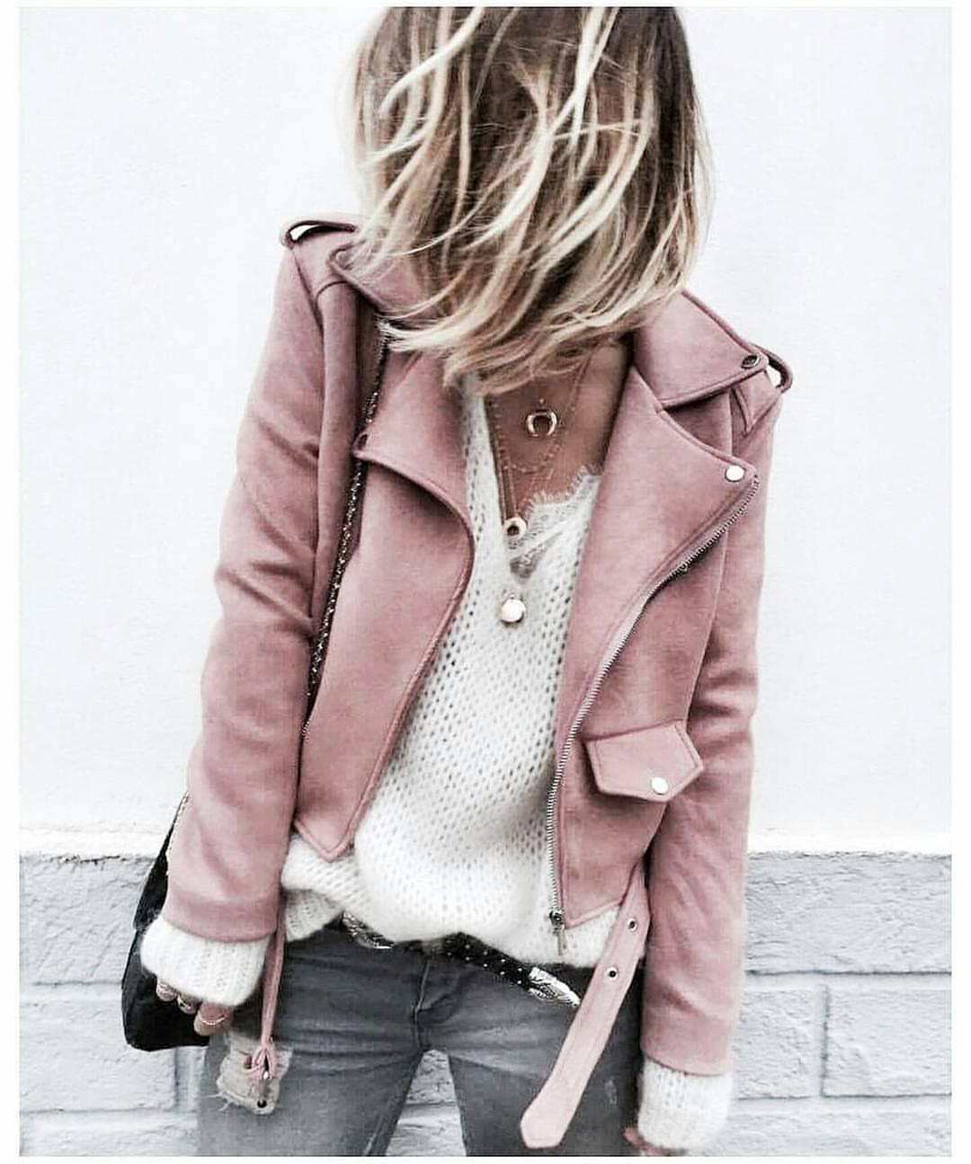 parisfashionn:Leather Jacket Sweater
