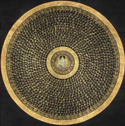 universum-lateralis-blog:Tibetan Thangka Painting:Goddess Green Tara Mandala with Syllable Mantra.
