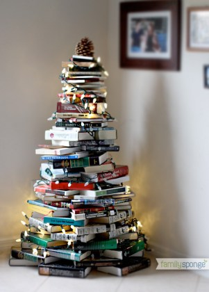 Alternative Christmas Tree Ideas Non Traditional Trees Books Stacked Lights Holidays