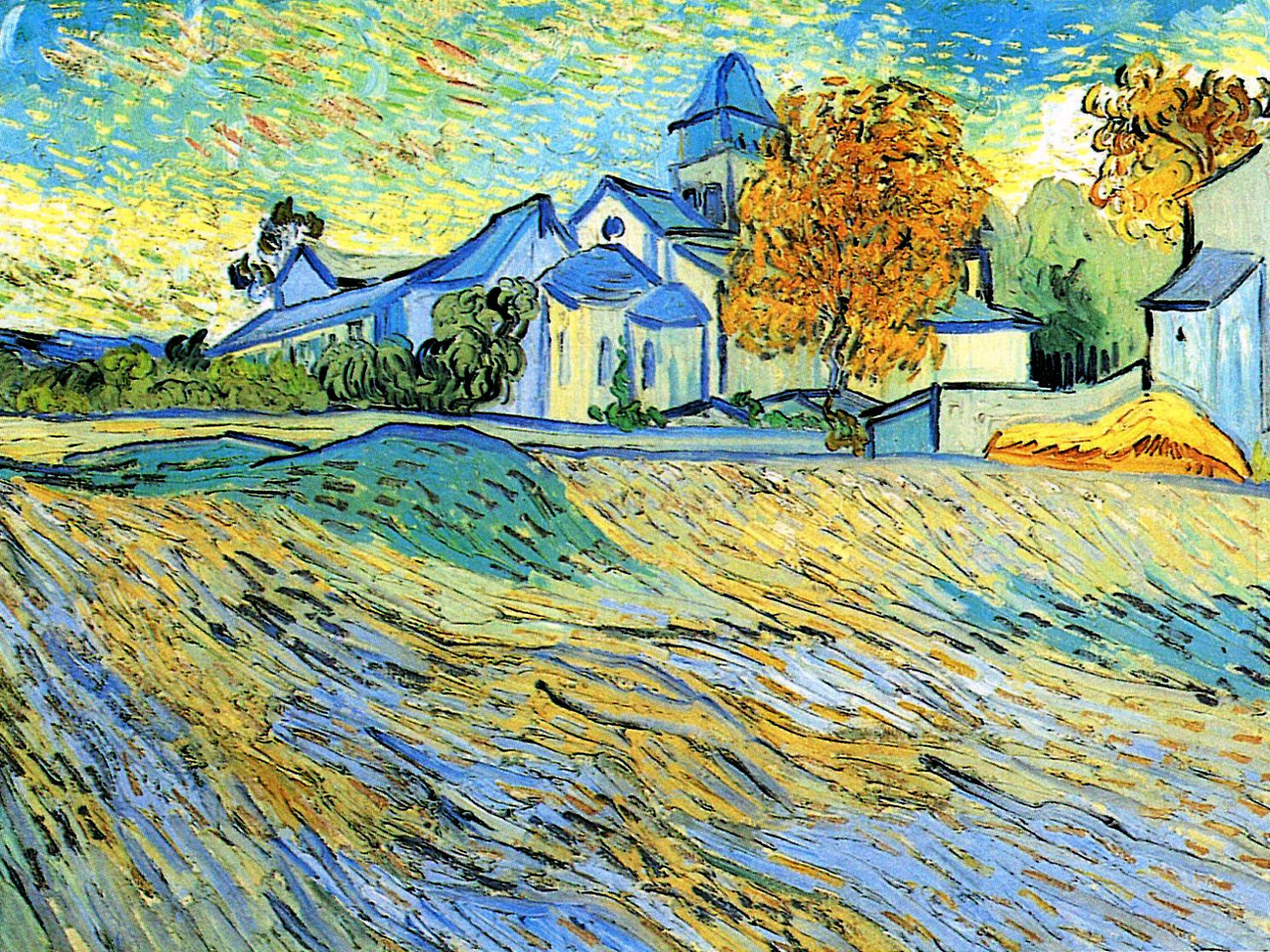 "artist-vangogh:"" View of the Church of Saint-Paul-de-Mausole by Vincent van GoghSize: 44.5x60 cmMedium: oil on canvas"""