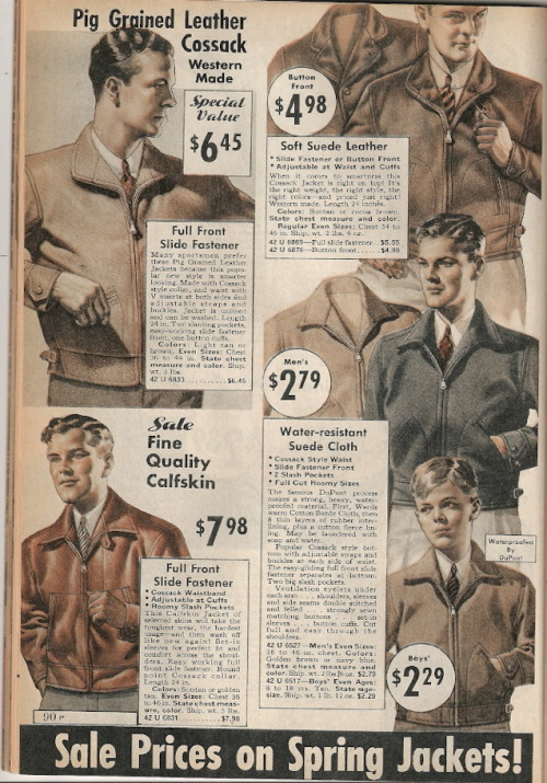 Montgomery Ward Spring Sale 1935 Leather Jackets