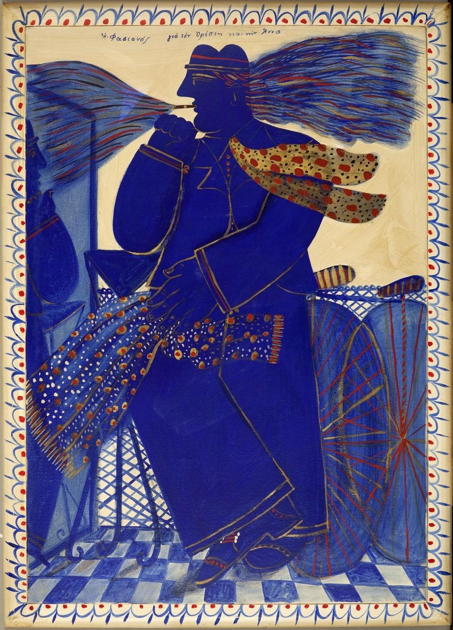 "terminusantequem:""Alecos Fassianos (Greek, b.1935), Blue smoker with scarf. Oil on canvas, 109.00 x 79.00 cm"""