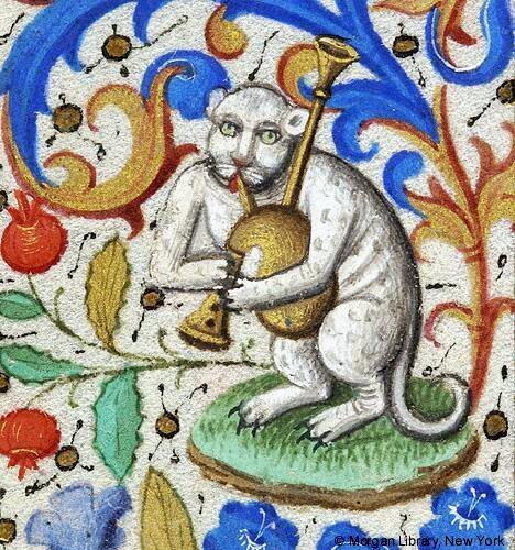 Cat playing the bagpipes, Morgan Library, MS 282