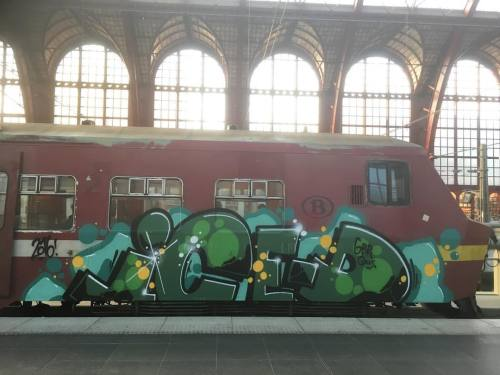 paintedtrains:#belgiumgraffiti #paintedtrains #traingraffiti #graffititrain #benching #bombing #panel #trainbombing #trainart #railwriters #belgianblogger