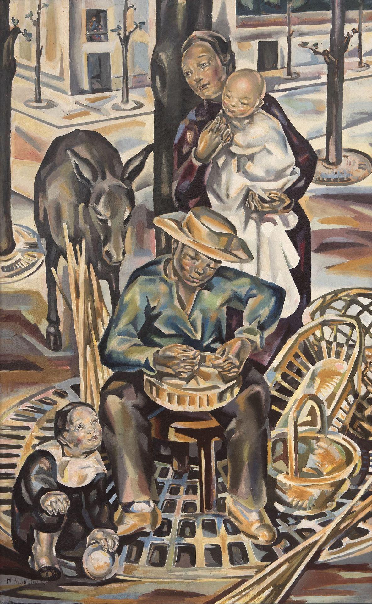 "lawrenceleemagnuson:""Maria Blanchard (Spain 1881-1932)Le Vannier - The Basketmaker (c. 1924)oil on canvas on hardboard 99 x 62,5 cm"""