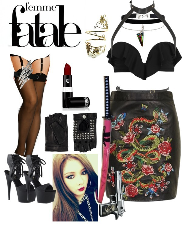 Femme Fatale by lucilxlu featuring a velvet choker