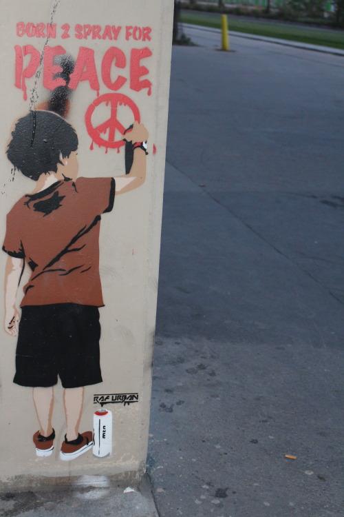 """bfstreetwalls:  """"Born 2 Spray for Peace"""" (Né pour peindre pour la Paix) Stencil painting by Raf Urban in Paris 13th district. Pochoir de Raf Urban dans le 13ème arrondissement de Paris."""