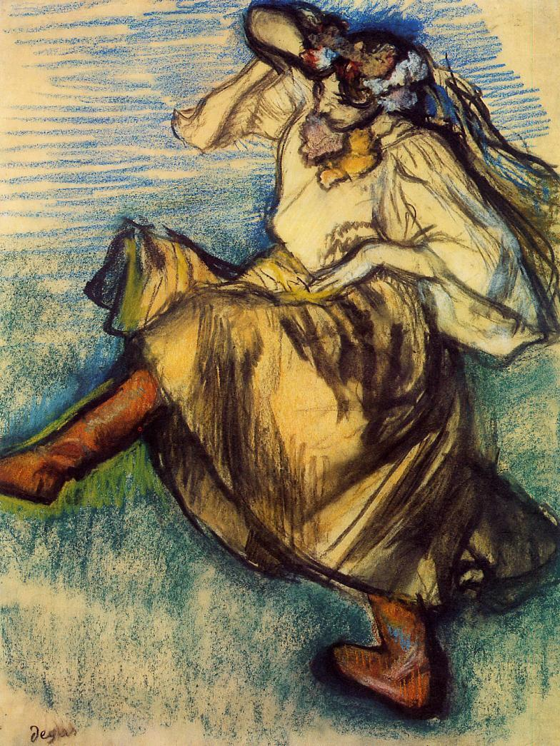 "artist-degas: "" Russian Dancer by Edgar Degas Medium: pastel"""