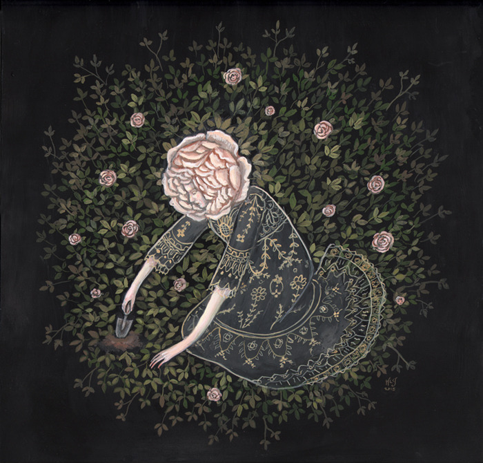 Rose Digger Gouache on paper, 2015 by Kelly Louise Judd
