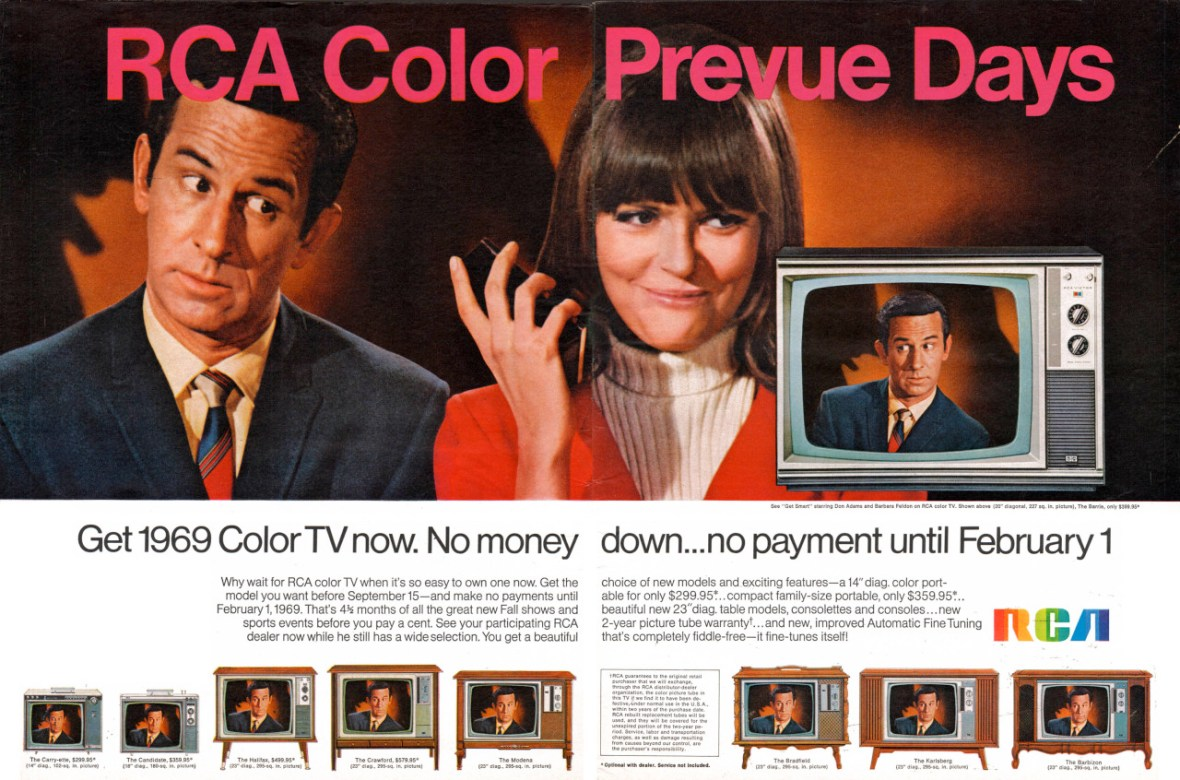 1969 RCA Color TV featuring Don Adams as Maxwell Smart and Barbara Feldon as Agent 99 - published in 1968