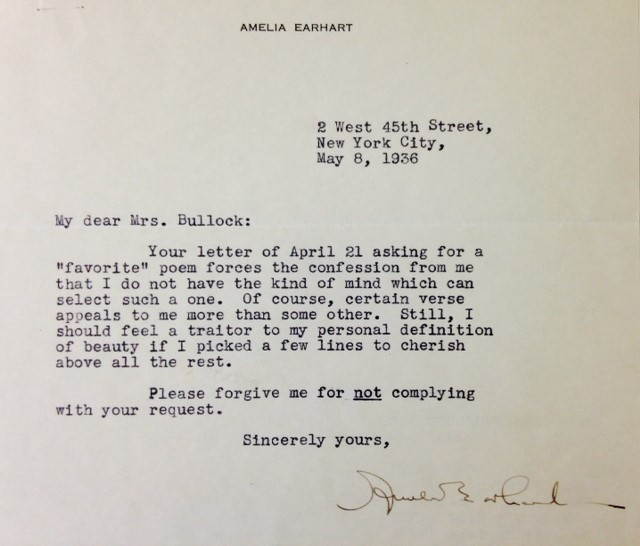Your letter asking me for a favorite poem forces the confession from me… A letter from Amelia Earhart, in honor of her birthday today, to our founder Marie Bullock, Academy of American Poets, July 24th, 2015