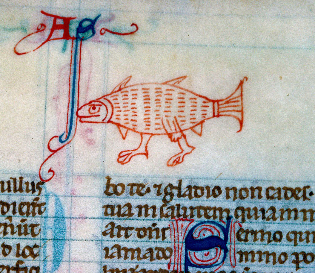 walking fish Bible, England 13th century. Alençon, Bibliothèque municipale, ms. 56, fol. 250r