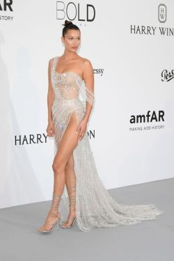 harpersbazaar:Bella Hadid Is Naked And Dripping In Diamonds At Cannes This is seriously her sexiest dress yet.