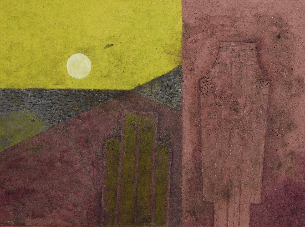 "thunderstruck9: ""Rufino Tamayo (Mexican, 1899-1991), Dos hombres en un paisaje [Two men in a landscape], 1977. Oil and sand on canvas, 98 x 130 cm. """