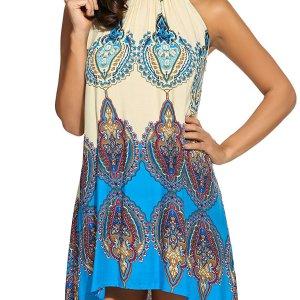 Women's Casual Sleeveless Halter Neck Boho Print Short Dress Sundress. I added a belt to add…, September 13, 2017 at 06:21PM