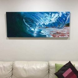 """Delivered this painting last night, and here she is, """"The glass tunnel"""" finally hanging in its new home. #art #artshow #perthpop #perthstagram #colour #artistsofinstagram #paintings #oilpainting #perthcreatives #perthartist #artworks #seascape #oceanscene #waves #waveart"""
