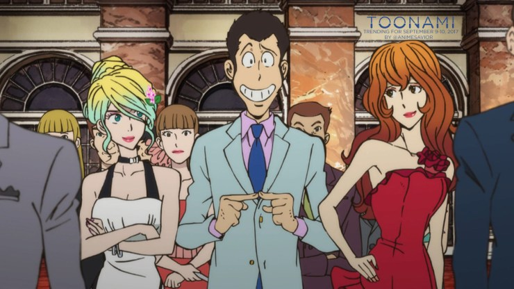 """It's hard to navigate through a woman's pride."" - Arsène Lupin III, Lupin the Third Part IV (Ep. 11) ""What is it…the dream of Italy?"" - Rebecca Rossellini The Toonami Trending Rundown for September 9-10, 2017. Perhaps to have a ""blast from the past""..."