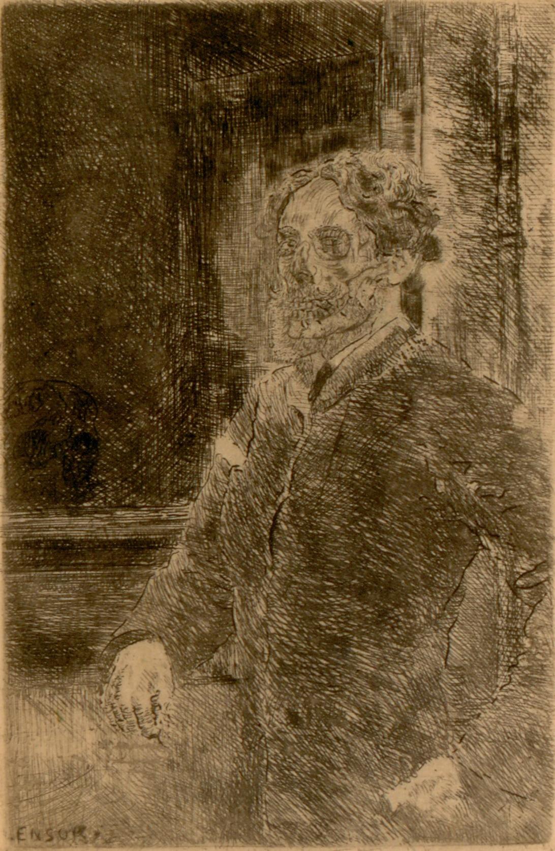 """amare-habeo: """"  James Ensor (Belgian, 1860 - 1949) My Portrait as Skeleton (Mon portrait squelettisé), 1889 Pencil and Ink on paper, 12 x 8 cm """""""