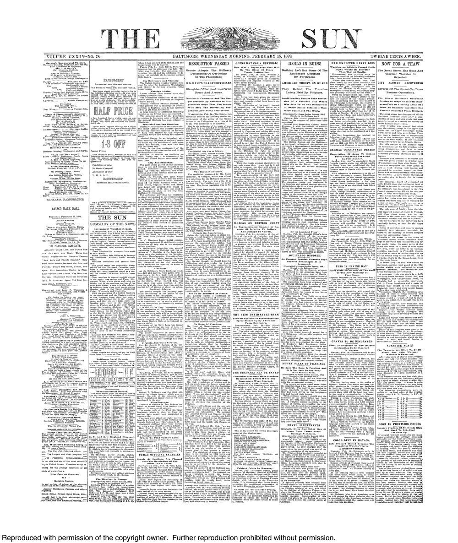 Retro Baltimore The Sun Front Page February 15 1899