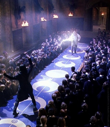 Dueling scene between Snape and Lockhart from Harry Potter and the Chamber of Secrets