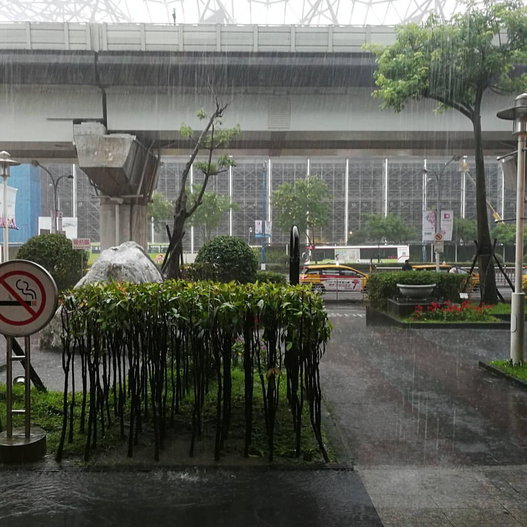 南港に着いたら大雨。 (臺北南港展覽館-Nomad Plus Espresso)