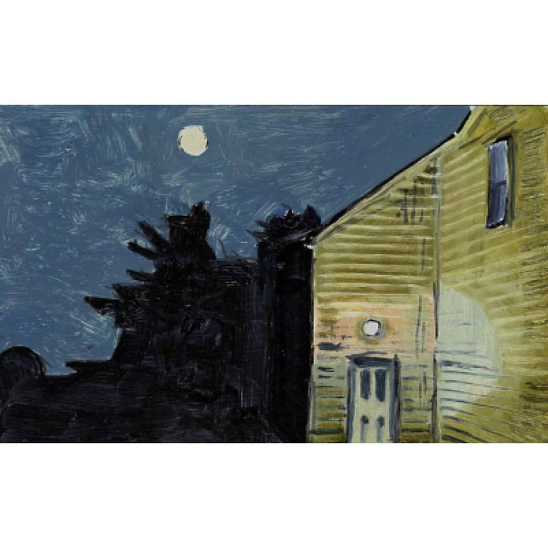"""verylargebuildings: """"Lois Dodd; Moon and House Light, 2013, oil on aluminum flashing, 5 x 7 inches """""""