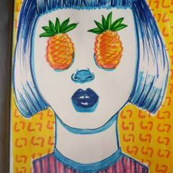 Dealing with hangovers by doodling silly things. #illustration_ink #drawdrawdraw #drawing #80s #90s #perthpop #perthstagram #doodles #sketch #portrait #sketching #artsy #art #perthcreatives #perthartist #pineapples