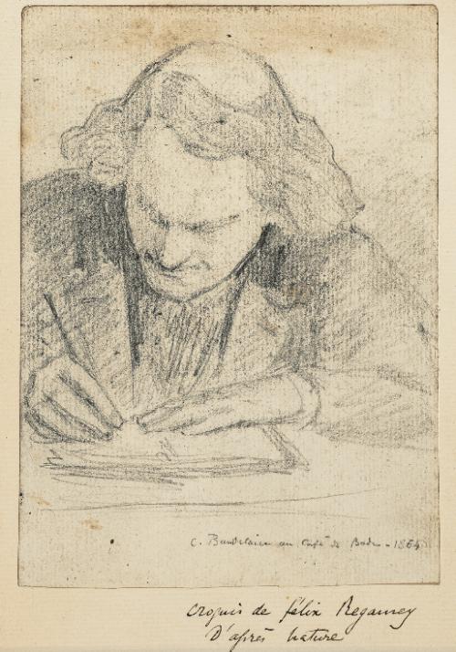 """Baudelaire au Café de Bade, (Vers 1864). Félix Régamey """"Croquis de Félix Régamey, d'après nature"""". En effet on sait que Charles Baudelaire composait dans les cafés parisiens. Les cafés représentaient l'extrême opposé de l'Académie. On y rentrait..."""