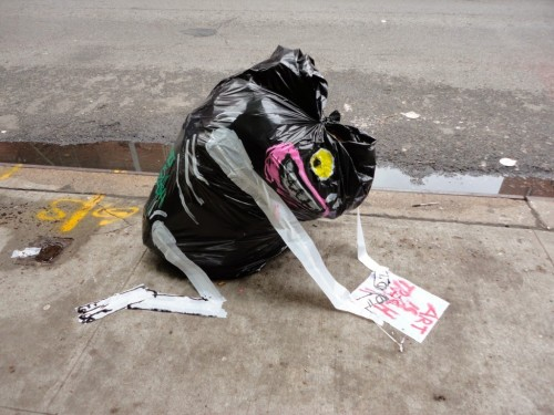 """crossconnectmag:Art is Trash by Francisco de Pajaro  """"Art is Trash"""" (El Arte Es Basura) is the street name of Barcelona-based artist Francisco de Pájaro. He takes action when he sees a pile of rubbish and creates art with it, making funny and striking art installations with boxes, garbage bags, broken furniture, old mattresses. He gives life to them with paint, sticks them with tape.Check our Twitter and Facebook for more original ArtSelected by Very Private Art"""