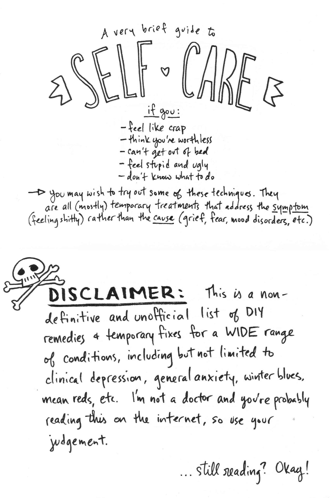A Very Brief Guide To Self Care I Compiled Some