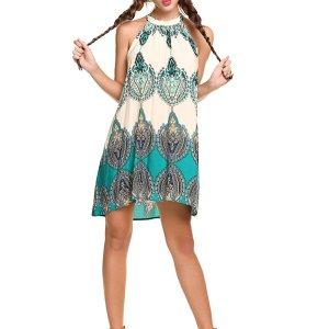 Women's Casual Sleeveless Halter Neck Boho Print Short Dress Sundress. I added a belt to add…, September 14, 2017 at 05:39AM