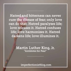 """""""Hatred and bitterness can never cure the disease of fear; only love can do that. Hatred paralyzes life; love releases it. Hatred confuses life; love harmonizes it. Hatred darkens life; love illumines it."""" -Martin Luther King, Jr. (""""Antidotes for Fear"""")http://imperfectionistblog.com/2017/01/martin-luther-king-jr-on-fear/"""