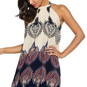 Women's Casual Sleeveless Halter Neck Boho Print Short Dress Sundress. I added a belt to add…, September 13, 2017 at 04:57PM